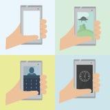 Комплект телефона 4 векторов в руке бесплатная иллюстрация