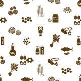 Комплект типичных alergens еды для картины eps10 ресторанов безшовной Стоковые Изображения RF