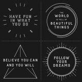 Комплект типографских дизайнов с вдохновляющими цитатами Стоковые Фотографии RF