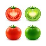 Комплект томатов большого зрелого красного зеленого свежего отрезка всех Стоковые Фото