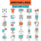 Комплект тонкой линии каналов средств массовой информации рекламы значков Стоковые Фото