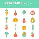 Комплект тонкой линии плоских vegetable значков Стоковые Изображения RF