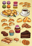 Комплект тортов и печений чертежа руки Стоковое Изображение RF