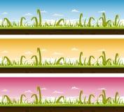 Комплект травы и ландшафта лужайки иллюстрация вектора
