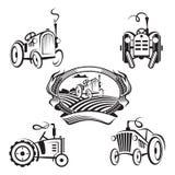 Комплект тракторов иллюстрация вектора
