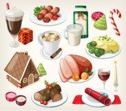 Комплект традиционной еды рождества иллюстрация вектора