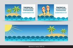 Комплект тропических знамен и визитных карточек бесплатная иллюстрация