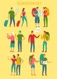 Комплект туристов шаржа большой Стоковая Фотография RF