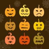 Комплект тыквы хеллоуина с различными выражениями Стоковая Фотография RF