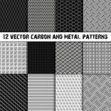 Комплект 12 углерод и картины металла безшовной Стоковая Фотография RF