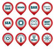 Комплект указателей карты пляжа Стоковые Фото