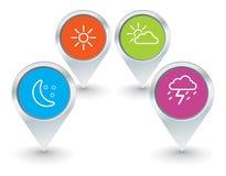 Комплект указателей карты с значками погоды Стоковое Изображение RF