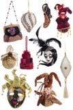 Комплект украшений рождества винтажных праздничных изолированных на белизне Стоковые Фотографии RF