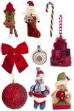 Комплект украшений рождества винтажных праздничных изолированных на белизне Стоковое Изображение