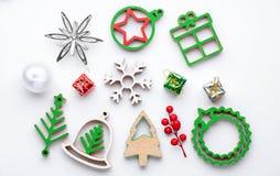 Комплект украшений рождества винтажных праздничных изолированных на белизне Стоковое Изображение RF