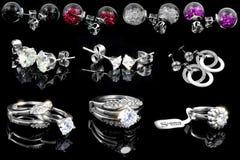 Комплект украшений - серьги и кольца Стоковые Фото