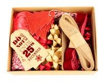 Комплект украшения оборачивать подарка рождества Стоковая Фотография