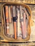 Комплект файла металла в пластичной коробке Стоковое фото RF