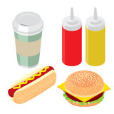 Комплект фаст-фуда, бургера, хот-дога и бутылки с кетчуп мустарда Стоковые Изображения