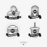 Комплект фаст-фуда, логотипов высококалорийной вредной пищи с лентой Стоковые Фотографии RF