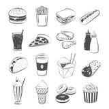 Комплект фаст-фуда шаржа: гамбургер, французские фраи, сандвич, хот-дог, пицца, цыпленок, кетчуп и мустард, тако, кофе иллюстрация штока