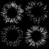 Комплект 4 фейерверков, элементов взрыва Излучать линии в rando иллюстрация штока