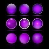 Комплект фиолетовых круглых кнопок для вебсайта Стоковые Фото