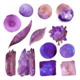 Комплект фиолетовых пятен акварели Стоковая Фотография