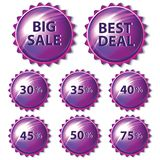Комплект фиолетовых стикеров на белой предпосылке Стоковые Изображения
