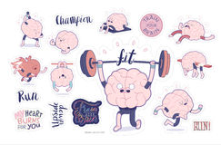 Комплект фитнеса стикеров мозга Стоковая Фотография