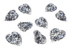 Комплект формы сердца диамантов на white-3D представляет Стоковая Фотография