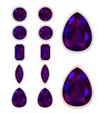 Комплект 5 форм черного опала Стоковые Фотографии RF