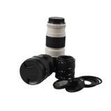 Комплект фотографических аксессуаров и объективов стоковое изображение