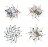 Комплект 4 100 фото графика значка долларовой банкноты Стоковая Фотография RF