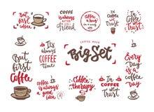 Комплект фразы coffe стиля каллиграфии Стоковое фото RF