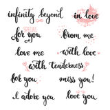 Комплект фраз нарисованных рукой о влюбленности: в влюбленности, я обожаю вас Стоковое фото RF