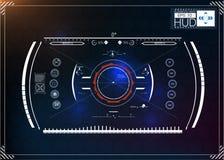 Комплект футуристического голубого infographics как головной дисплей Покажите элементы навигации для сети и app Футуристический п Стоковое Фото