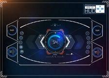 Комплект футуристического голубого infographics как головной дисплей Покажите элементы навигации для сети и app Футуристический п Стоковое фото RF