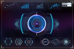 Комплект футуристического голубого infographics как головной дисплей Покажите элементы навигации для сети и app Стоковая Фотография RF