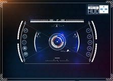Комплект футуристического голубого infographics как головной дисплей Покажите элементы навигации для сети и app Стоковое Изображение