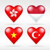 Комплект флага сердца Гонконга, Индонезии, Вьетнама и Турции азиатских положений иллюстрация штока