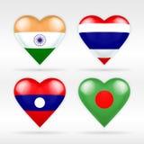 Комплект флага сердца Индии, Таиланда, Лаоса и Бангладеша азиатских положений Стоковое Изображение RF