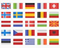Комплект флагов европейских стран Стоковые Фотографии RF