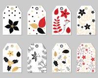 Комплект флористических бирок подарка рождества Бесплатная Иллюстрация