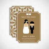 Комплект флористических винтажных карточек свадьбы венчание Стоковое Фото