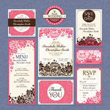 Комплект флористических карточек свадьбы Стоковые Изображения