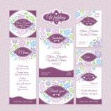 Комплект флористических карточек свадьбы иллюстрация вектора