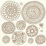 Комплект флористических элементов в этническом стиле нарисованного вручную Стоковые Изображения RF
