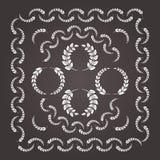 Комплект флористических элементов wreathes и границы Стоковые Фотографии RF