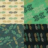 Комплект флористической зеленой безшовной картины Стоковое Изображение